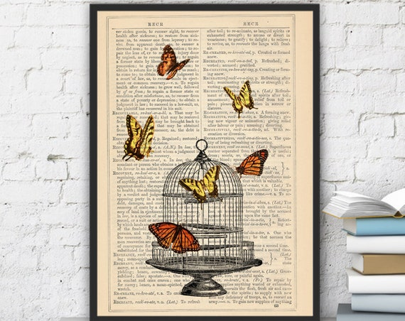 Release the Butterflies n01 Cage collage Print on Vintage Dictionary  page - book art print BFL012