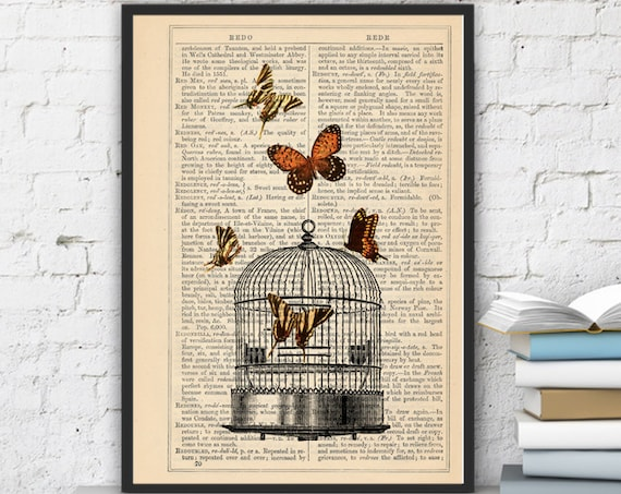 Christmas gifts for mom Release the Butterflies n04 Cage collage Print on Vintage Dictionary  page - book art print BFL017