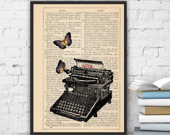 Book page art- Lovers typewritter with butterflies customizable book print BFL092