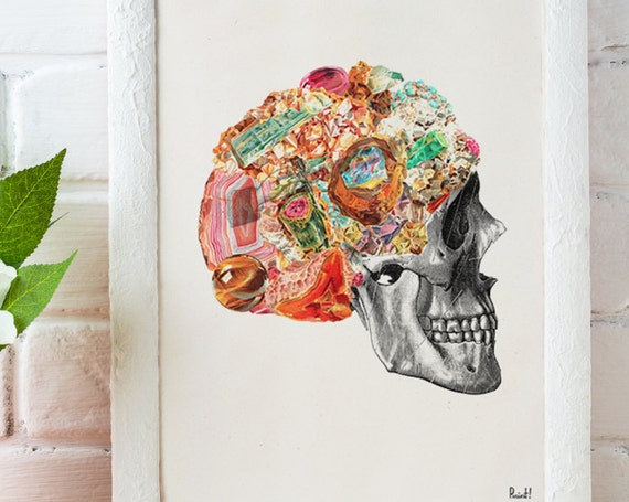 Stones and Minerals Human Anatomy Skull collage printed on dictionary page perfect for gifts  SKA119WA4