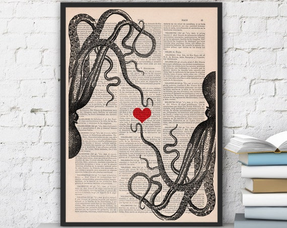 Octopus couple in love with Red heart wall art Printed on vintage dictionary page great for Christmas gifts SEA067b