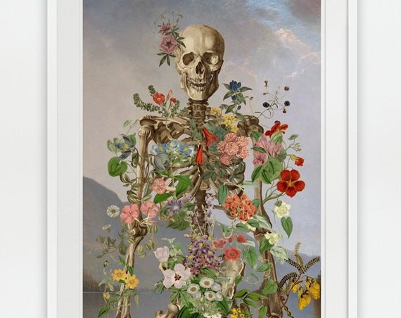 Christmas gifts for mom Skeleton covered with flowers,   Wall art, Wall decor, Poster, medical student gift,  art,  SKA157WA3