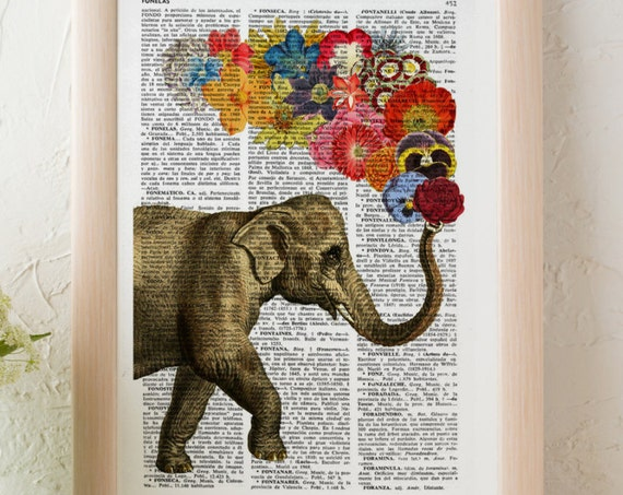 Elephant with Flowers, Wall art, Wall decor, Digital prints animal, Giclée, Vintage Book sheet, Nursery wall art, Prints, Gift for herANI091