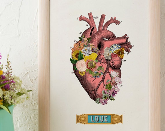 Christmas gifts for mom Flowery heart LOVE, Anatomical art, Anatomy art, Wall art decor, Gift for Doctor, Medical, Science art,  SKA132WA4