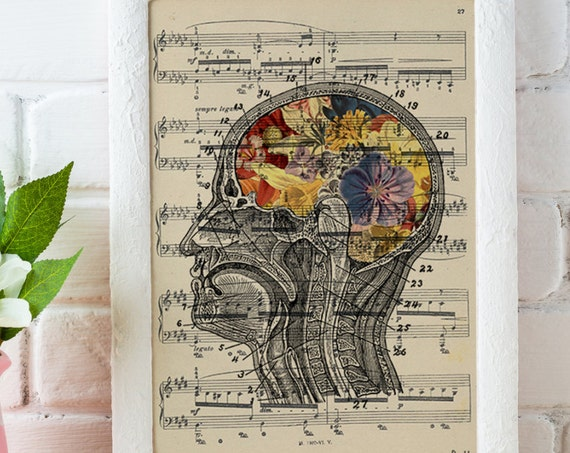 Flowery Brain over music sheet Love gift aniversary gift, Music student gift, Girlfriend gift,music SKA053MSL