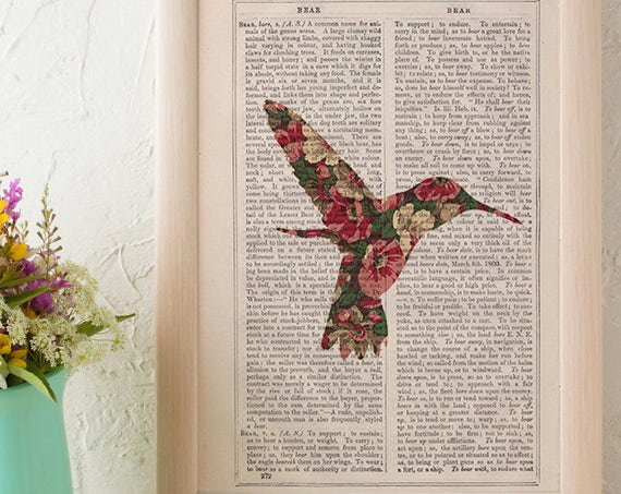 Hummingbird silhouette, Wall art, Wall decor, Digital prints animal, Giclée, Vintage Book sheet, Nursery wall art, Prints, Bird print ANI248
