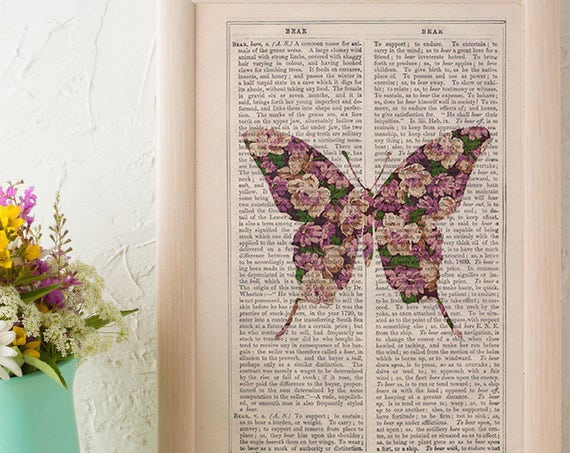 Christmas gifts for her Art  Butterfly silhouette, butterfly flowers pattern art collage, Wall art, Wall decor,   Prints  ANI249