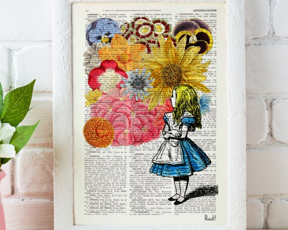 Alice in wonderland with Wild Flowers perfect for Christmas Gifts ALW025b