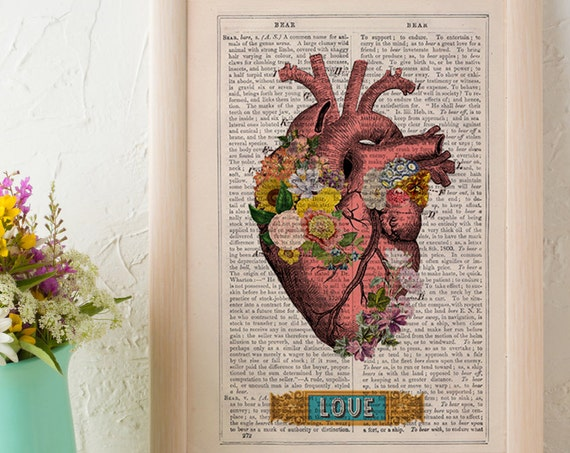 Flowery heart LOVE, book Print Wall art. Human anatomy Chic Science prints Human anatomy and flowers SKA132