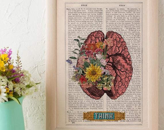 Human Brain THINK funny Science prints Human Anatomy prints wall decor. gift geek print art SKA131