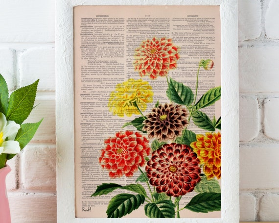Christmas gifts for mom Dahlia bouquet print  Dictionary Page wall art home decor, wall hanging , flower wall art, Dahlia wall decor BFL081