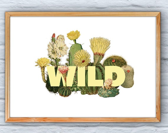 Cactus Wall Art, Home decor, Typography art, Wild  Print Art and collectibles, Cactus home design BFL218WA3
