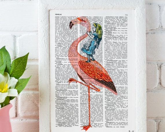 Alice in Wonderland Decor Alice riding a Flamingo , Decorative art, Gift, Giclee print, wall art, Nursery art ALW032