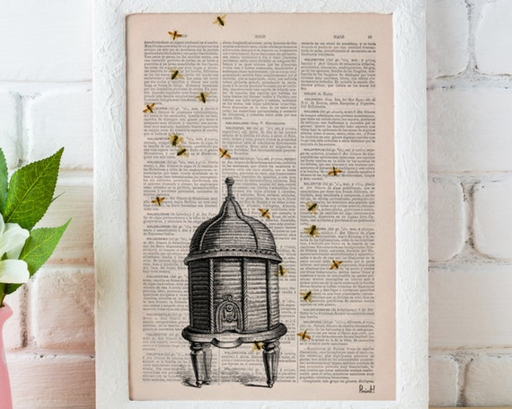 Nature Bumble bee hive wall art printed on vintage dictionary page best choice for gifts  BFL029b
