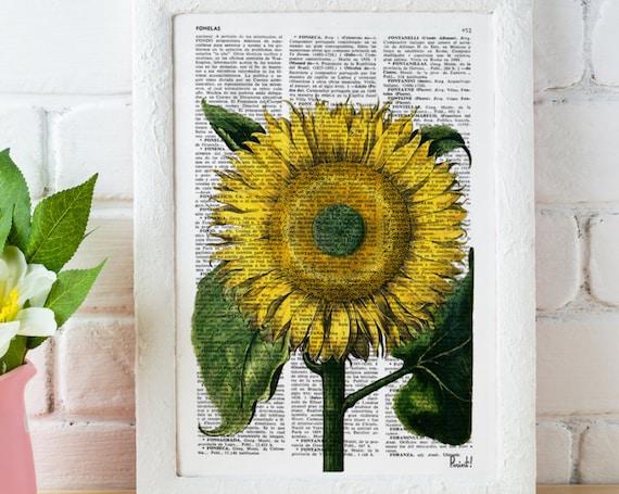 Christmas gifts for mom Sunflower Botanical Vintage Print Dictionary Encyclopedia Page Print studio print on Vintage Dictionary BFL062