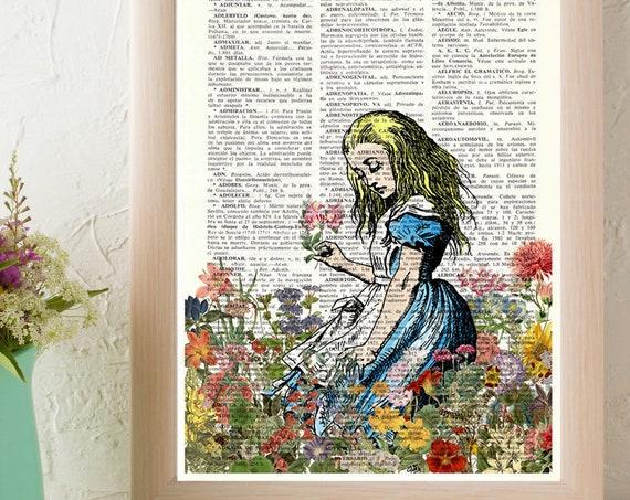 Alice in wonderland smelling wild Flowers.  Alice in Wonderland wall art, Wall decor Alice print, nursery art ALW047