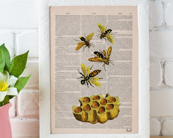Christmas gifts Bees Print on Dictionary Book page - Bees and honey Art on Upcycled Dictionary Book - Wall Art Home Decor BFL002