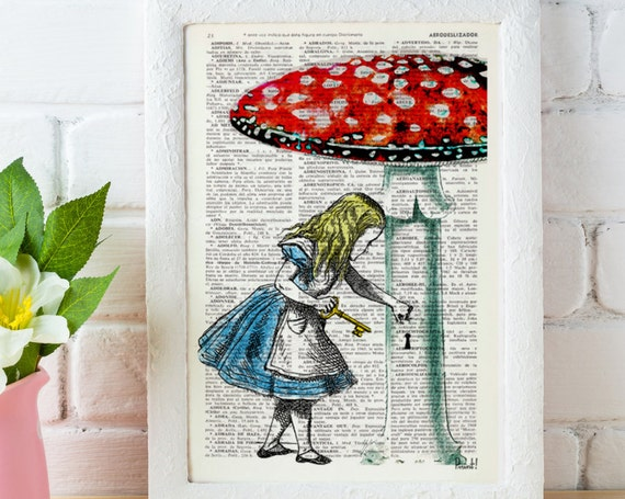 Alice in wonderland wall art Going home gift, Alice decor dictionary art print Lewis Carroll  ALW016