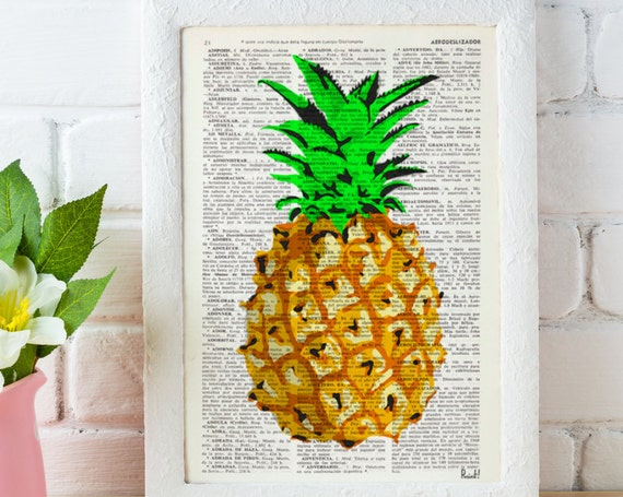 Christmas gifts for mom Pineapple Wall decor, giclee print art Hipster Pineapple original artwork Printed on Vintage Dictionary page BFL096
