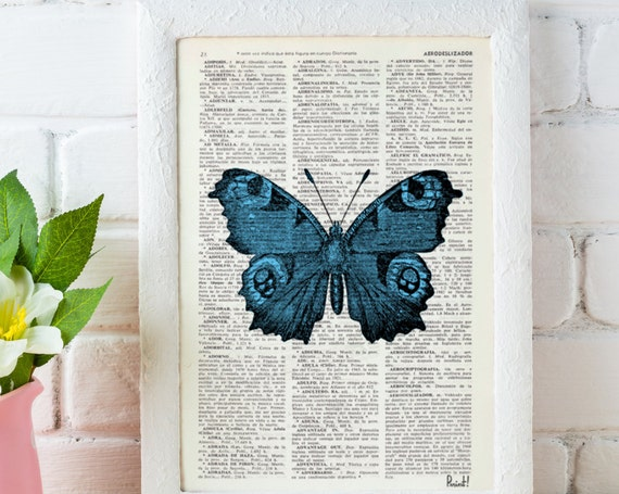 Blue Butterfly Dictionary Book Print perfect for gifts  BFL033b
