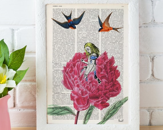 Alice in Wonderland Dictionary Book Print - Alice with swallows Collage Print on Vintage Dictionary Book art ALW038