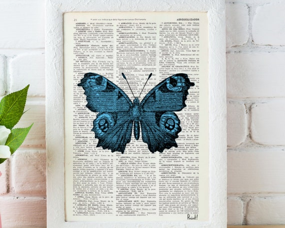 Blue Butterfly Dictionary Book Print - Altered art on upcycled book pages BFL033