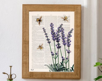 Spring decor Bees with Lavender Print Housewarming Gift - Bee Wall Art - Dictionary Print - Book Page Art - Flower Book Print - BFL117