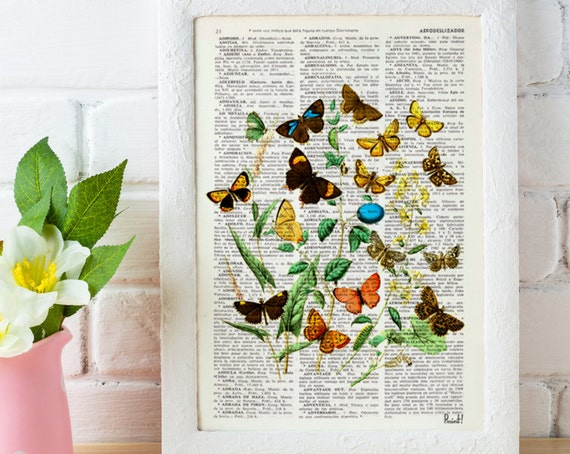 Wild Flowers and butterflies Art print- Dictionary art Wall decor butterflies and flowers gift print flowers BFL035