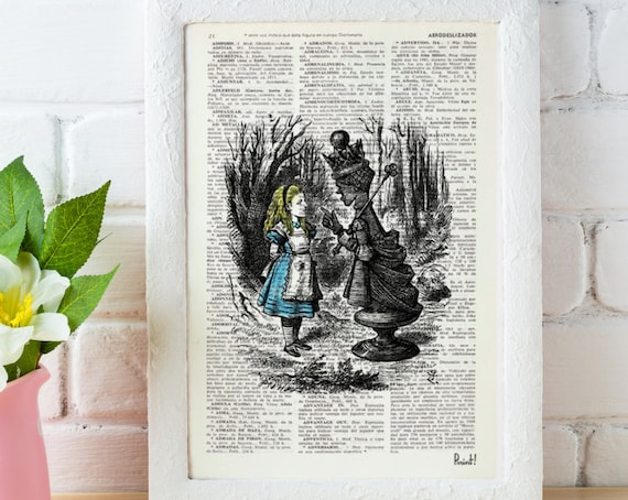 Vintage Alice in wonderland Book Print Dictionary  Page  Alice and the queen Print on Vintage Dictionary Book art ALW007
