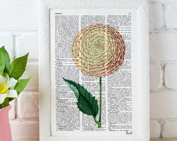 Christmas gifts for mom Dalia Flower book print - Book print page - Upcycled book page flower bosque nature art  BFL051
