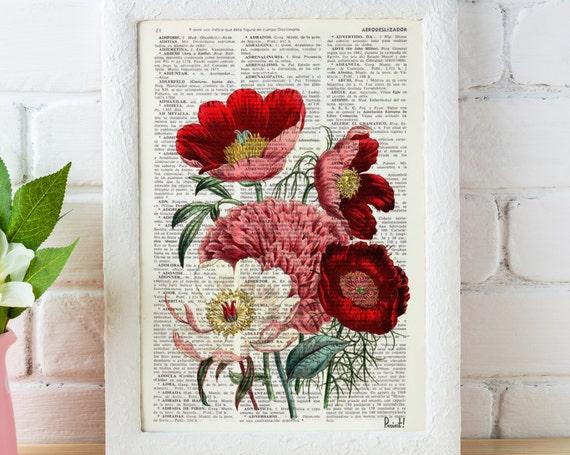 Vintage Book Print Dictionary or Encyclopedia Page Print- Book print Flower Bouquet on Vintage Encyclopedic BFL057