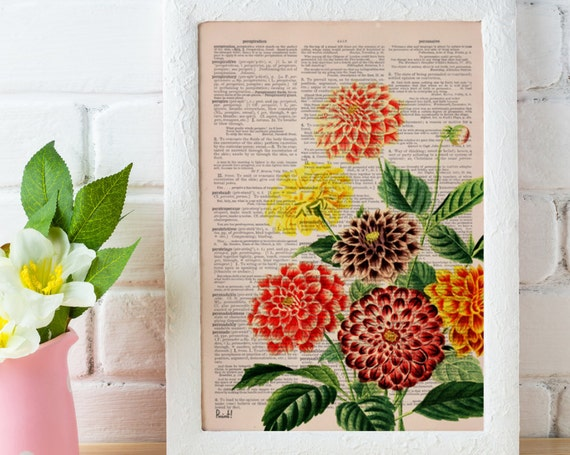 Dahlia bouquet printed on Dictionary Page Wall Art perfect for Christmas gifts BFL081b