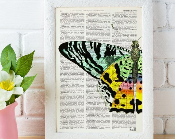 Christmas gifts for mom Butterfly Art Print Digital Illustration Poster Print Art Wall Hanging Hand painted Butterfly Dictionary gift BFL102