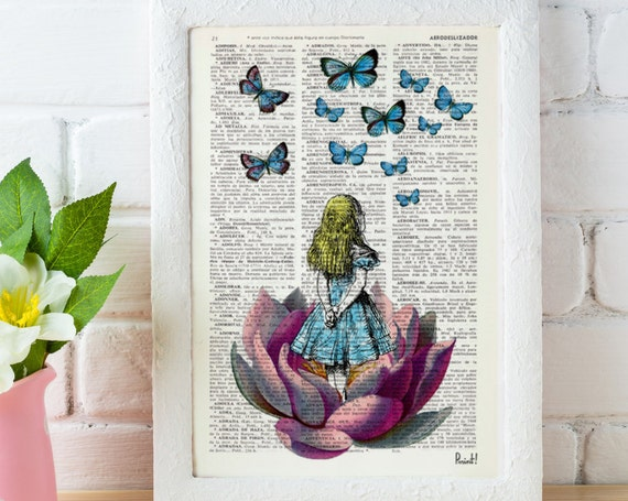 Alice in wonderland, Alice Looking for a pink butterfly wall hanging poster art wall art Girls room gift ALW013
