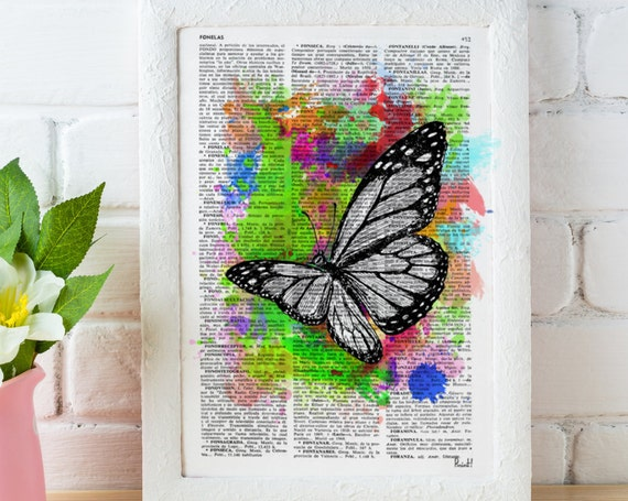 Watercolor collection Butterfly 03 Printed on Vintage Dictionary Book page Wall decor, wall hanging butterfly BFL010