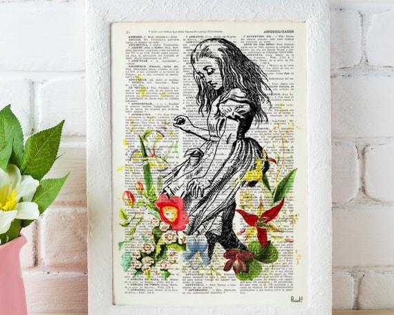 Alice in wonderland with wild Flowers  Alice in Wonderland wall art, Wall decor Alice print, nursery art ALW001