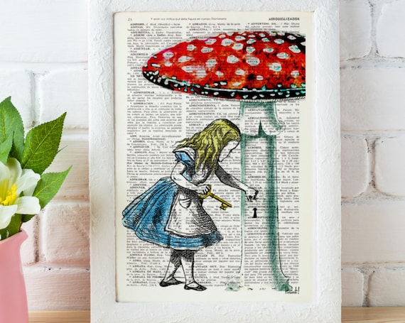Alice in wonderland Going home Collage Print on Vintage Dictionary Page the best choice for gifts  ALW016b