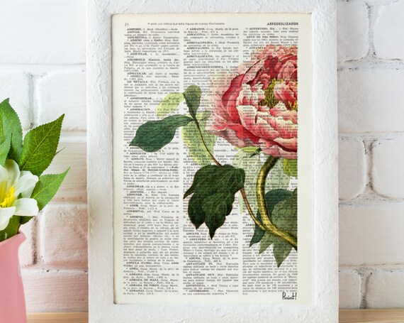 Christmas gifts for mom Peony Flower book print - Book print page - Upcycled book page wall art book print BFL122