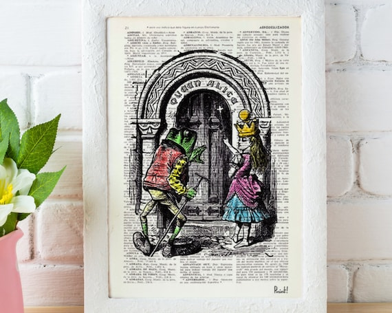 Vintage Book dictionary page Print- Alice in Wonderland Wellcome Queen Alice Print on Vintage Dictionary Book ALW004