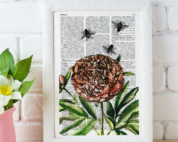 Upcycled Dictionary Page Book Art Art Print Upcycled Book Print Peony flower with bumblebees print  Vintage  BFL085