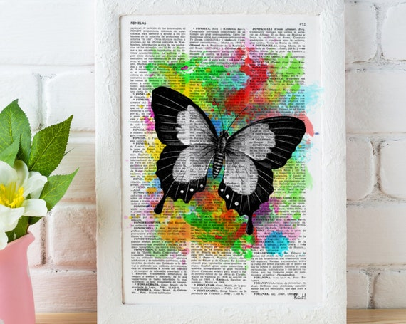 Beautiful Butterfly 01 Wall art home decor printed on Vintage Book Page the best choice for Christmas gifts BFL009b