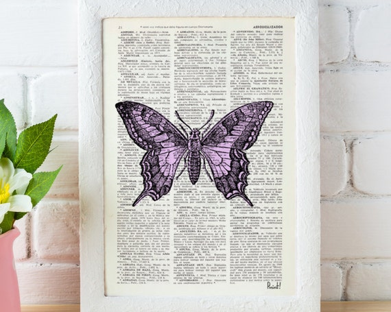 Butterfly in lilac Dictionary Book Print - Altered art on upcycled book pages BFL032