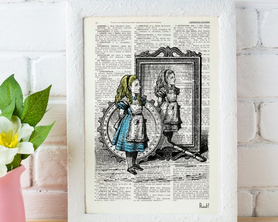 Alice in wonderland Alice and the mirrors Alice in Wonderland Collage Print on Vintage Dictionary Book art ALW012