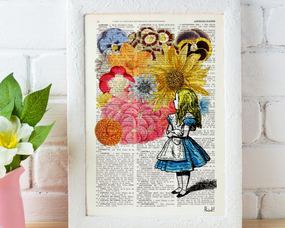 Alice in Wonderland with Flowers, gift her, Alice wall decor dictionary print wall Lewis Carroll Print ALW025