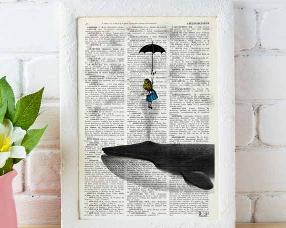 Decorative art Alice in the Sky with Umbrella (and Whale) Dictionary art, girls wall hanging, Alice gift ALW026