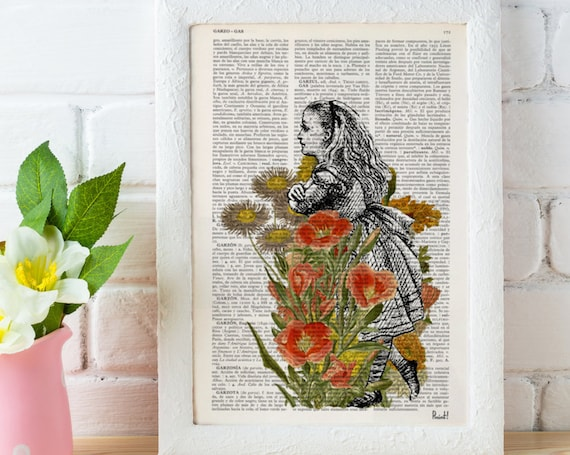 Alice in Wonderland with a flower bouquet gift, Alice wall decor print Lewis Carroll Print, poster decor ALW037