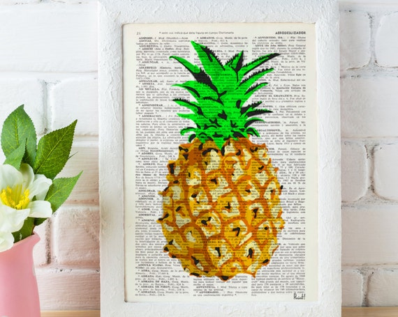 Tropical Pineapple Giclee Wall decor printed on vintage upcycled book page perfect for gifts  BFL096b