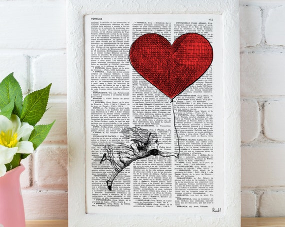 Alice in Wonderland Decor Alice with a heart shaped Balloon Gift, Giclee print, wall art, Nursery art ALW002