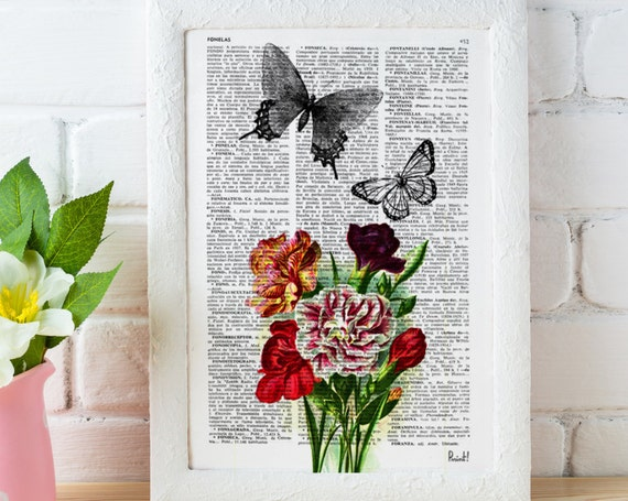 Butterfly collage Book print art Butterflies  and Carnations collage  Upcycled book page Art Dictionary print BFL006