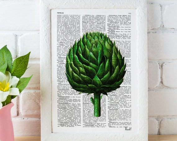 Vintage Book Print Dictionary or Encyclopedia Page Print Book print Artichoke Botanical studio print  BFL073
